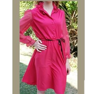 Vintage 80s Dress Hot Pink Ruffled A-line Womans